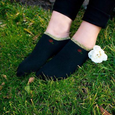 جوراب مچ لمه ای طرح گل رز