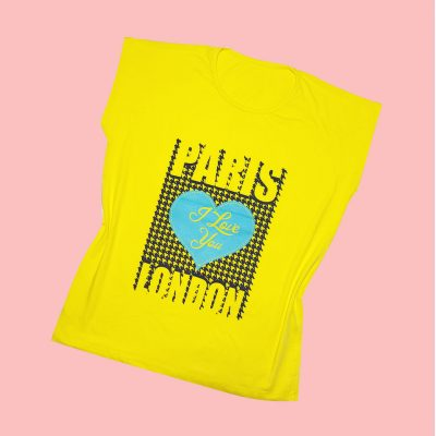 ۲۰۲۱۰۵۰۱ ۲۳۰۴۵۶ 400x400 - تیشرت سوپر قواره آستین افتاده چاپ قلب PARIS