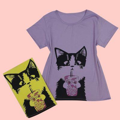 ۲۰۲۱۰۵۰۸ ۲۰۲۱۴۰ 400x400 - تیشرت طرح گربه و ليوان
