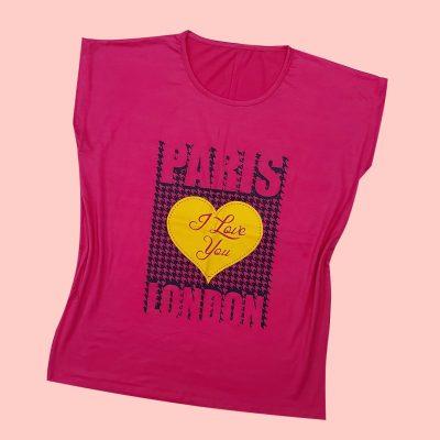 5 min 1 400x400 - تیشرت سوپر قواره آستین افتاده چاپ قلب PARIS