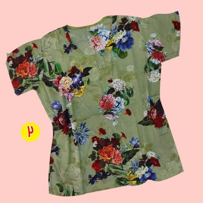 T shirt 4 400x400 - تیشرت نخی ۲ دکمه گلدار