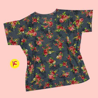 T shirt 6 400x400 - تیشرت نخی ۲ دکمه گلدار